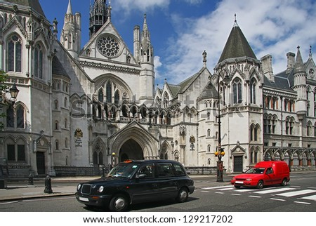 LONDON - JULY 20, 2012: Royal courts of justice in London, commonly called the Law Courts, was built in the 1870 and were opened by Queen Victoria in December 1882. London, July 20, 2012.