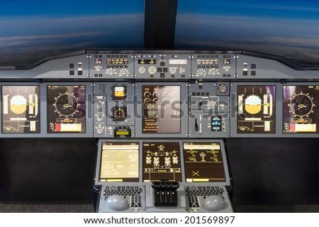 Inside of homemade flight simulator… Stock Photo 234815902