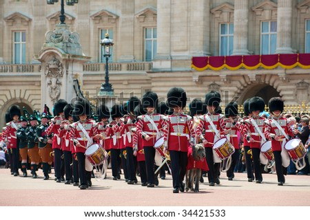 LONDON - JUNE 13: Her Majesty's Coldstream Regiment of Foot Guards, also known officially as the Coldstream Guards on The Queen's official birthday, on June 13, 2009 in London, England.