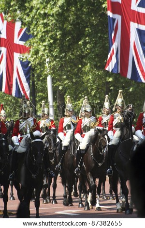 LONDON - JUNE 17: Household Cavalry at Queen's Birthday Parade on June 17, 2006 in London, England. Queen's Birthday Parade take place to Celebrate Queen's Official Birthday in every June in London