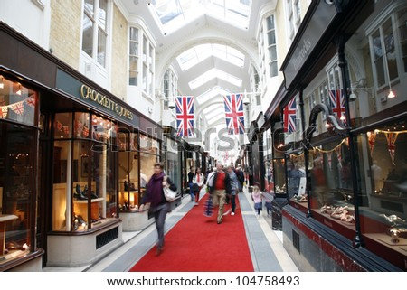 LONDON JUNE 4 Inside view of Burlington Arcade 19th century European shopping gallery behind Bond Street opened in 1819 for sale of jewellery and fancy articles on June 4 2012 London UK