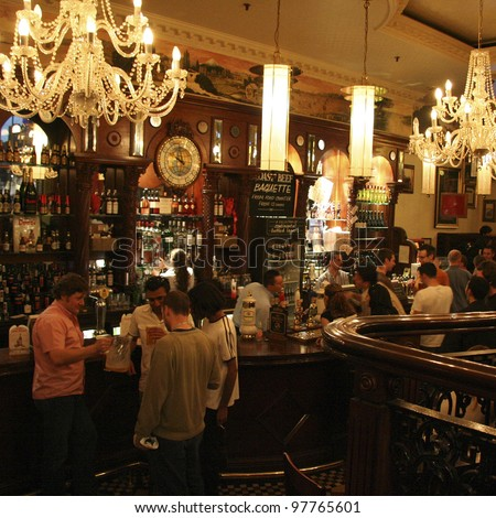 LONDON JUNE 3 Inside view of pub for drinking and socializing focal point of the community on June 3 2006 London UK Pub business now about 53 500 pubs in UK has been declining every year