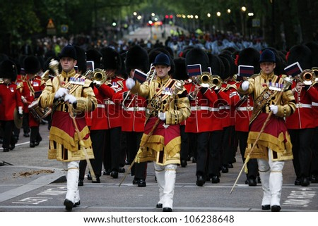 LONDON - JUNE 14: Massed Bands at Beating Retreat on June 14, 2012 in London, UK. Beating Retreat is a military ceremony, performed by military bands, takes place on Horse Guard Parade in White Hall.