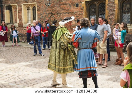 LONDON- JUNE 07: The actors play the characters from the time of Henry VIII, King of England, who reigned from 1509 to 1547 at Hampton Court Palace in London in UK on June 07, 2010.