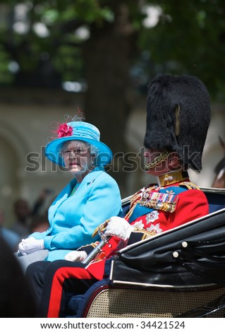 LONDON - JUNE 13: The Queen and The Duke of Edinburgh on The Queen's official birthday and is also known as the Birthday Parade, on June 13, 2009 in London, England.