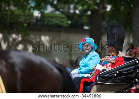LONDON - JUNE 13: The Queen Elizabeth II and The Duke of Edinburgh on Horse Guards Parade, June 13, 2009 in London, England.