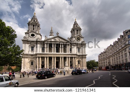 LONDON - JUNE 14: Tourist visits St Paul's Cathedral on June 14, 2012 in London, UK, founded in 604, completed in 1708, 111m high, locates at the top of Ludgate Hill, City of London.