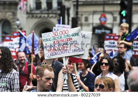 LONDON - JUNE 30; Unidentified members of trade unions make their feelings clear during a march against proposed cuts. The march was organised by various trade unions in London on June 30, 2011