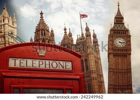 london landmark symbols collage ...
