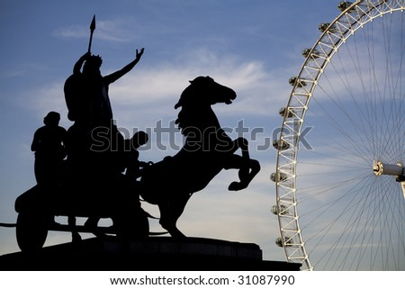 London - London eye and silhouette of Boudica sculpture
