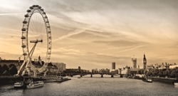 London . London eye, County Hall, Westminster Bridge, Big Ben and Houses of Parliament.