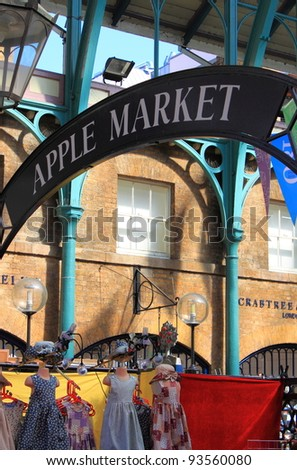 LONDON - MAY 23: Apple market insignia on May 23, 2010 in London. Apple market in Covent Garden is one of the main London attractions