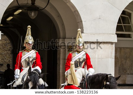 """LONDON - MAY 12 : """"Beating Retreat"""" Parade pictured on May 12th, 2013, in London, UK.  The tradition, dating from the 17th century, combines military music and drill on Horse Guards."""