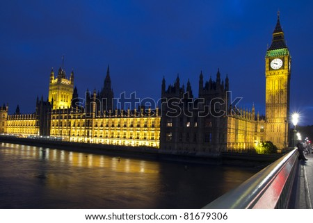 LONDON - MAY 29: Big Ben and the Houses of Parliament at night on the River Thames in London on May 29, 2011. The bell in Big Ben is 2.28 meters tall (7 feet six inches) and 2.75 meters wide (9 feet).