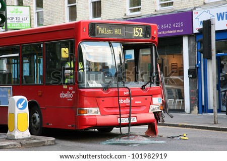 LONDON - MAY 31:  Bus appeared to be out of service after traffic accident in Wimbledon on May 31, 2011 in London, UK. Transport accident rates in UK have fallen considerably over the last 25 years.