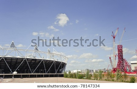 LONDON - MAY 24: London's Olympic Stadium in Stratford East London is completed three months ahead of schedule, with a capacity of 80,000 for the 2012 Olympics, May 24 2011 in London