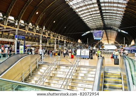LONDON - MAY 29: The interior of Paddington train station on May 29, 2011 in London, UK. Paddington is one of the biggest train stations in London. - stock photo
