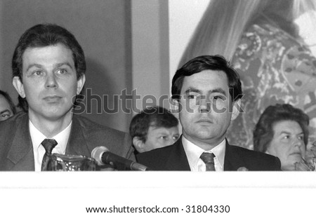 LONDON- MAY 24: Tony Blair (right), former British Prime Minister with Gordon Brown, current Prime Minister, at a conference on May 24, 1990 in London.