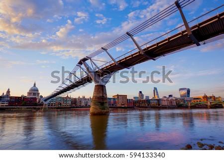 Stock Photo London Millennium bridge sunset skyline in UK at dusk