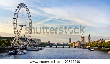 London morning. London eye, County Hall, Westminster Bridge, Big Ben and Houses of Parliament. - stock photo