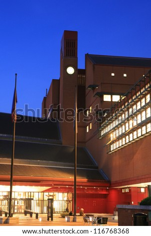 LONDON - NOV 1 : Outside view of British Library building, national library of the UK, designed by professor Colin Wilson, separated from British Museum in 1973 on November 1, 2010, London, UK. - stock photo