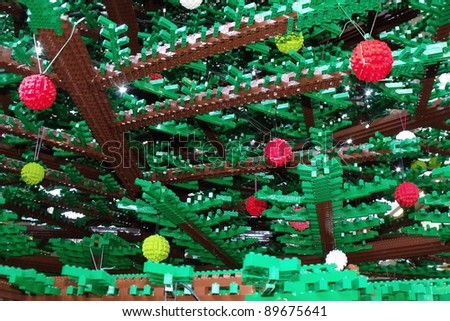 LONDON- NOV 27: The worlds largest christmas tree made of Lego, using 600,000 bricks, has been unveiled at St pancras train station, London, nov 27, 2011.