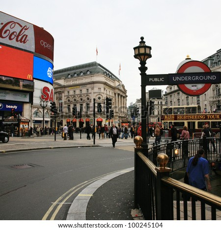 LONDON - NOV 6: View of Piccadilly Circus, road junction, built in 1819, famous tourist attraction, links to West End, Regent Street, Haymarket, Leicester Square, on Nov 6, 2010 in London, UK.