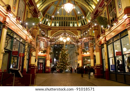 LONDON - NOVEMBER 30: Christmas decorations in Leadenhall Market (the building was designed at the end of the 19h century by Sir Horace Jones) on November 30, 1011 in City of London, London, UK