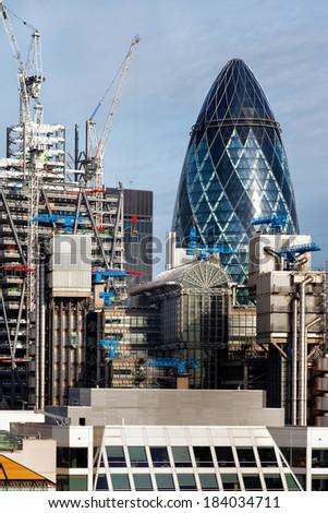 LONDON - NOVEMBER 6 : London skyline as seen from the Monument in London on November 6, 2012