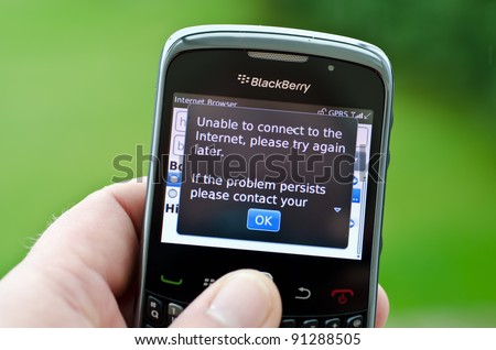 LONDON - OCT 12: Blackberry customers across the UK face a third day of no internet or instant messaging access on their mobile devices on Oct 12, 2011 in London, England.