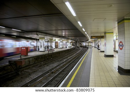 LONDON- OCTOBER 25: An interior view of the Underground Tube System in London, England on October 25, 2009. London\'s system is the oldest underground railway in the world, dating back to 1863.