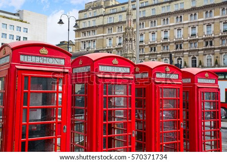 London old red Telephone boxes in a row at England