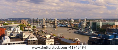 London panorama including Tower Bridge