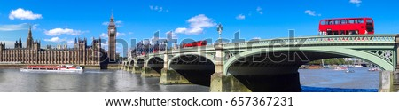 london panorama with red buses...