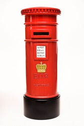 London postbox isolated on white background