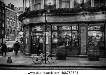 london pub illustration black...