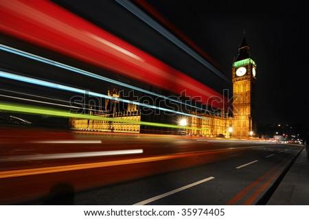 London Red Bus passing trough Big Ben