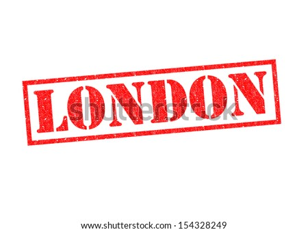 LONDON red rubber stamp over a white background.
