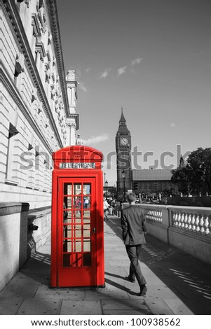 London Red Telephone Booth and Big Ben in the Distance.