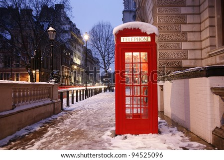 London Red Telephone Booth at dawn