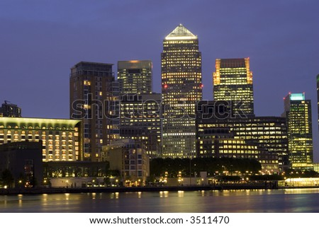 London's City Financial District - Canary Wharf at night