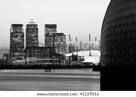 London's City Financial District - Canary Wharf in Black and White