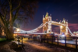 London's icon view of Tower Bridge at night