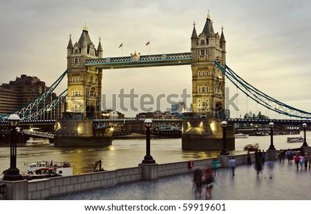 London's Tower Bridge at sunset