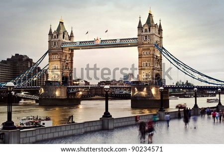 London's Tower Bridge at twilight