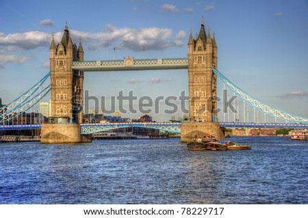 London's Tower Bridge bathed in sunlight on a bright Summer's day