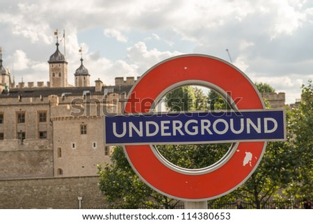 LONDON - SEP 27: Close up of a traditional station sign for the London Underground transportation systems on September 27, 2012 in London. The sign was first used in 1908