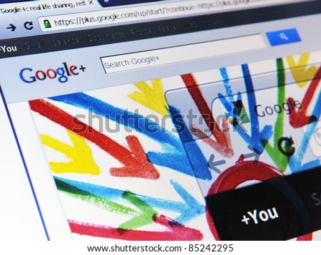 LONDON - SEPT 20: Google announces that its social networking service, Google+, is open to all on Sept 20, 2011 in London, UK. Google+ is competing directly against social networking giant Facebook. - stock photo
