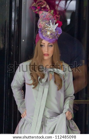 LONDON - SEPT 10: Lady Gaga leaves the Dorchester Hotel, Sept 10, 2012 in London, UK