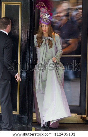 LONDON - SEPT 10: Lady Gaga leaves the Dorchester Hotel, Sept 10, 2012 in London, UK